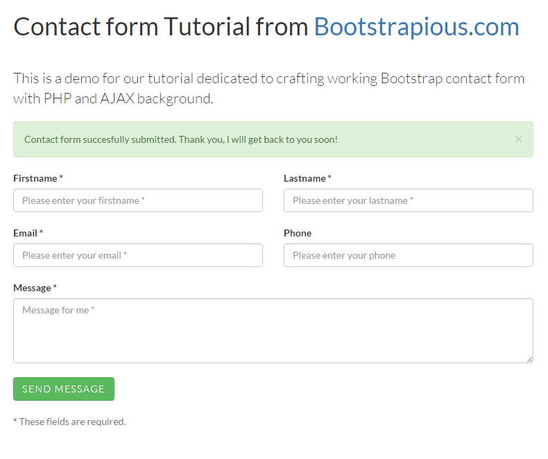 a working bootstrap html contact form step by step tutorial. Black Bedroom Furniture Sets. Home Design Ideas