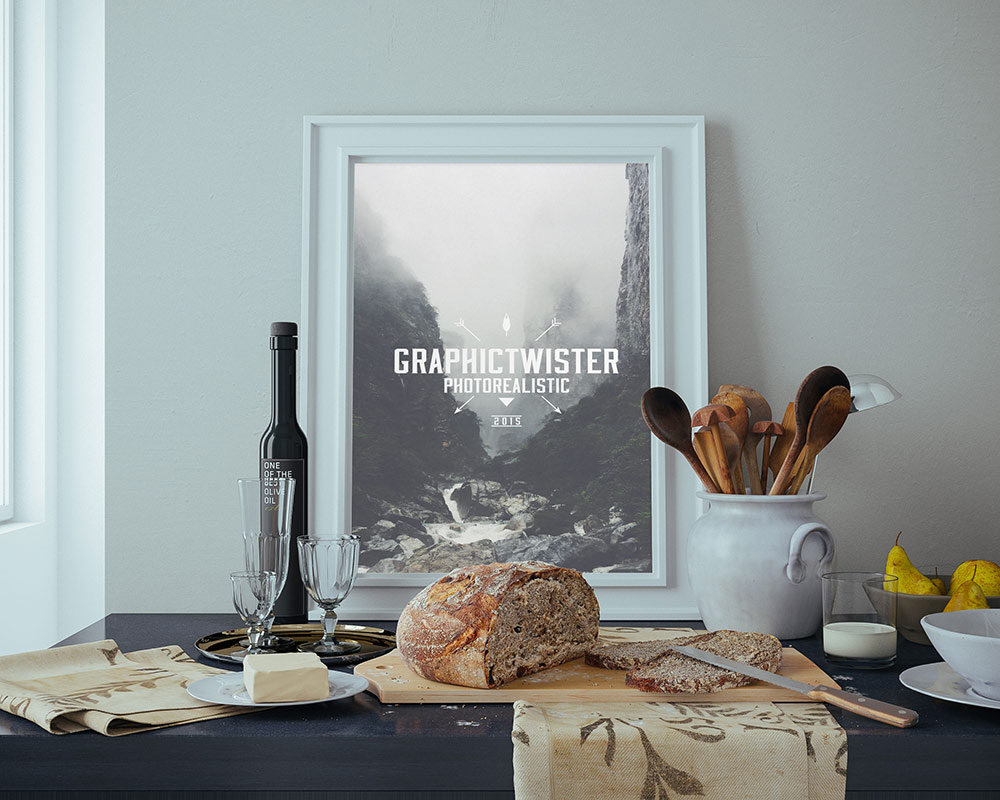 Poster frame mockup in a design interior by Graphic Twister & Curated collection of Free PSD Poster Mockups to present your ...